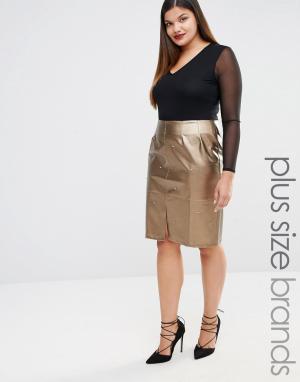 Elvi Декорированная юбка‑карандаш из искусственной кожи. Цвет: золотой