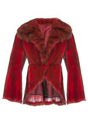 Норковая шубка с отделкой из меха соболя 180550 Vinicio Pajaro. Цвет: красный