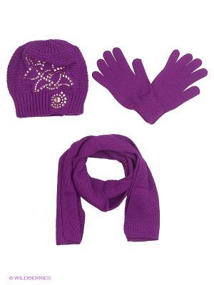 Шапка;  шарф; перчатки Krife. Цвет: лиловый