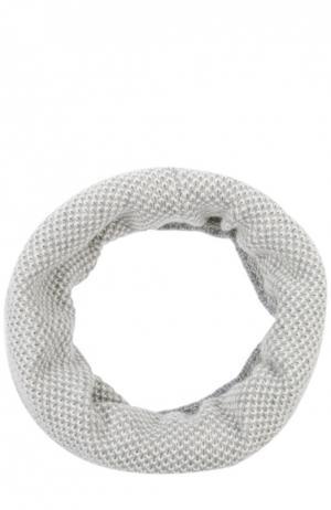 Вязаный шарф-снуд из кашемира Johnstons Of Elgin. Цвет: светло-серый