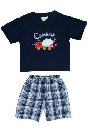 Кофта короткий рукав, шорты Ohm&Emmy. Цвет: синий