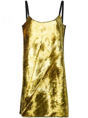 Короткое платье-комбинация Eckhaus Latta. Цвет: металлический