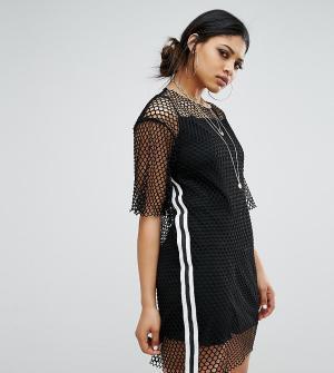Bones Свободное платье-футболка в крупную сеточку со спортивной отделкой Bon. Цвет: черный