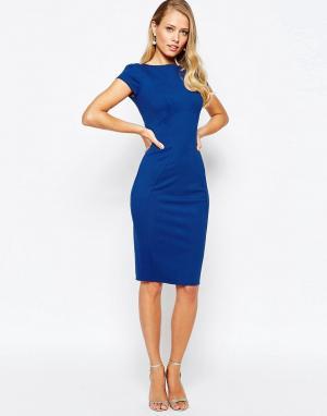 Closet London Платье-футляр с присборенными короткими рукавами. Цвет: синий