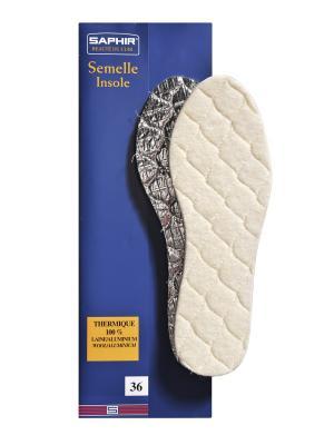 Зимние стельки из натуральной шерсти на пенолатексной основе с алюминиевой фольгой Saphir. Цвет: молочный