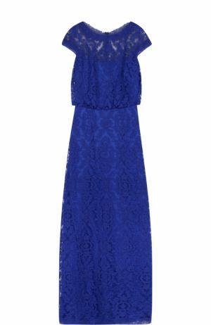 Приталенное кружевное платье-макси Tadashi Shoji. Цвет: синий