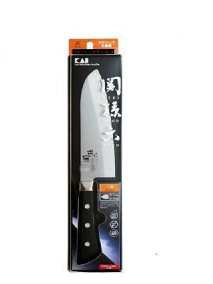 Kai SEKIMAGOKURO Akane Нож Сантоку универсальный из коррозийно-стойкой (плакированной) стали. Цвет: черный, серебристый