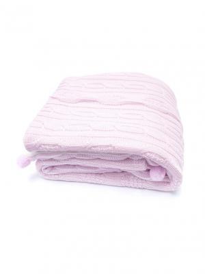 Одеяло-плед вязаноеПомпончики Сонный гномик. Цвет: розовый