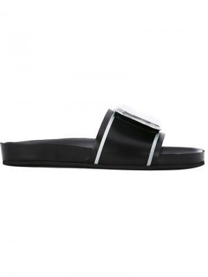 Открытые сандалии с мраморным узором Toga. Цвет: чёрный
