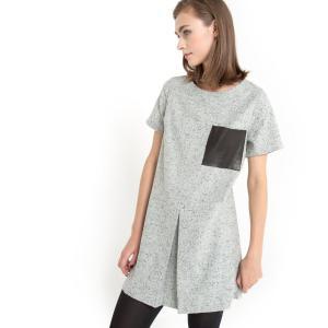 Платье прямого покроя из шерстяной ткани с крапчатым рисунком KINN GAT RIMON. Цвет: серый меланж