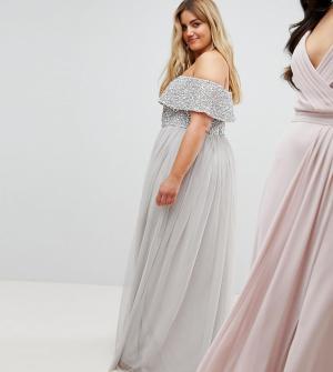 Maya Plus Асимметричное платье из тюля с пайетками на лифе. Цвет: серый