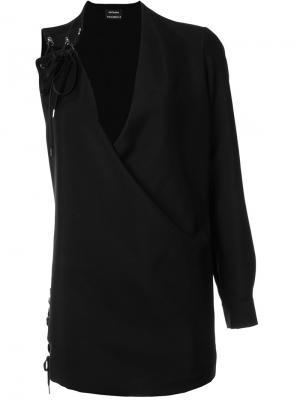 Платье на одно плечо со шнуровкой Anthony Vaccarello. Цвет: чёрный