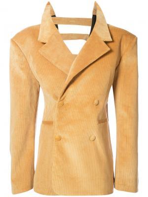 Бархатный двубортный пиджак Y / Project. Цвет: жёлтый и оранжевый