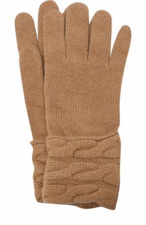 Вязаные перчатки из кашемира Kashja` Cashmere. Цвет: темно-бежевый