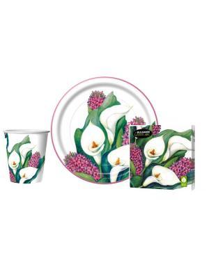 Набор Каллы для пикников и праздников: салфетки, стаканы, тарелки Bulgaree Green. Цвет: зеленый, белый, красный