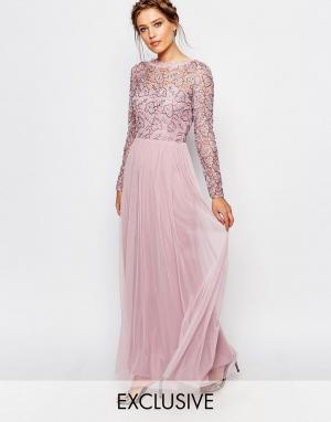 Frock and Frill Платье макси с кружевным верхним слоем. Цвет: розовый