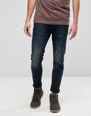 ASOS Черно-синие выбеленные джинсы скинни. Цвет: синий