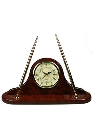 Часы настольные с ручкой Brigant. Цвет: коричневый, белый