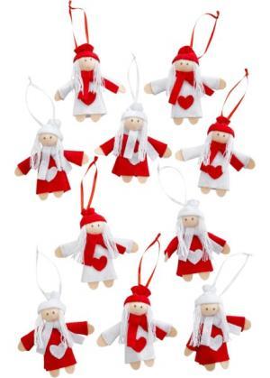Декоративные подвески Гномики (10 шт.) (кремовый/красный/светло-серый) bonprix. Цвет: кремовый/красный/светло-серый