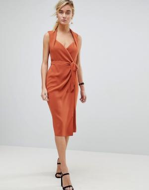 ASOS Платье миди с шалевым воротником и запахом. Цвет: коричневый