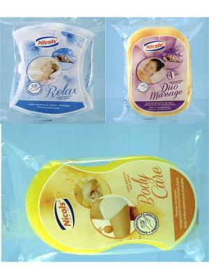 Набор Николс  Губки для тела Антицеллюлитная BodyCare+DuoMassage+Relax Nicol's. Цвет: голубой, желтый, розовый