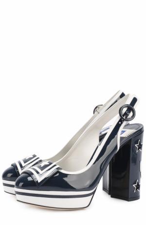 Лаковые туфли Vally с аппликациями Dolce & Gabbana. Цвет: синий