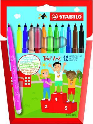 Фломастеры с трехгранной зоной обхвата TRIO A-Z, 12шт, NEW DESIGN Stabilo. Цвет: голубой
