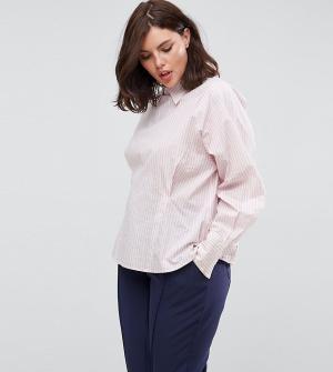 ASOS Curve Рубашка в полоску с корсетной отделкой на спине. Цвет: розовый