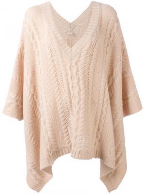 Вязаное пончо Agnona. Цвет: розовый и фиолетовый