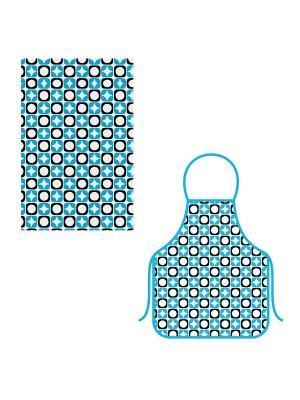 Набор фартук+полотенце Звездочки МультиДом. Цвет: голубой