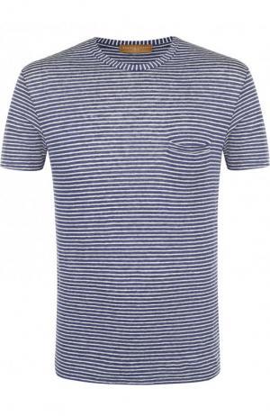 Льняная футболка с круглым вырезом Daniele Fiesoli. Цвет: синий
