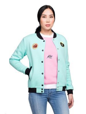 Куртка Бомбер СуперГерл Masha Smorodina. Цвет: лазурный