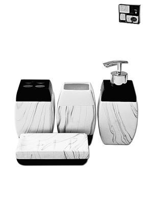 Набор для ванной 4 предмета PATRICIA. Цвет: черный, белый