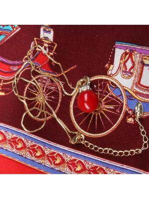 73030 Набор подарочный, Платок+кулон на цепочке Venuse. Цвет: бордовый, белый