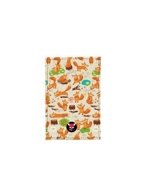 Чехол для проездного Лисики на бежевом поле TonyFox. Цвет: оранжевый, желтый, белый
