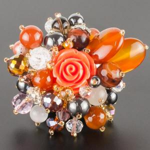 Брошь Флоренсия самоцветы, пластик, арт. бшС-2926 Бусики-Колечки. Цвет: коричневый