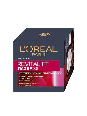 Дневной антивозрастной крем Ревиталифт Лазер х3против морщин для лица, 50 мл L'Oreal Paris. Цвет: красный