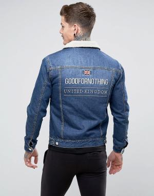 Good For Nothing Синяя обтягивающая джинсовая куртка с подкладкой из искусственного мех. Цвет: синий