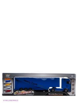 Грузовик-трейлер р/у Mercedes Benz Actros  1:32, 6 каналов Пламенный мотор. Цвет: синий