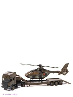 Машинка SCANIA TRANSPORT с вертолетом AUTOTIME. Цвет: хаки
