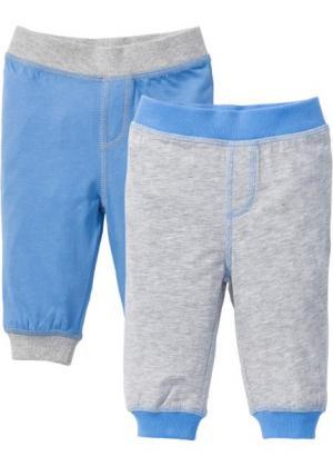 Трикотажные брюки для малышей (2 шт.), органический хлопок (светло-серый меланж/голубой) bonprix. Цвет: светло-серый меланж/голубой