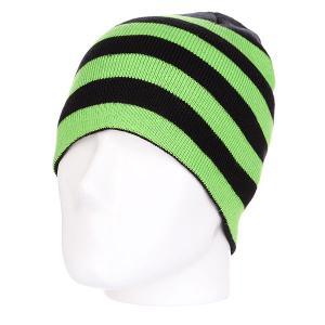 Шапка  Stripe Beanie Black-limegreen Urban Classics. Цвет: черный,зеленый