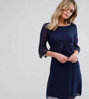 Elise Ryan Свободное платье с кружевной отделкой. Цвет: темно-синий