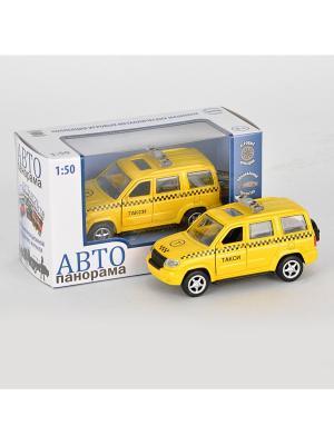 Машинка металлическая инерц. Такси 1:50, открываются двери в/к АВТОПАНОРАМА. Цвет: желтый, черный