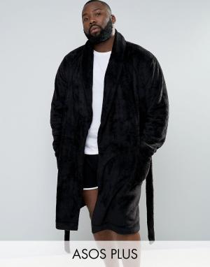 ASOS Флисовый халат с шалевым воротником PLUS. Цвет: черный