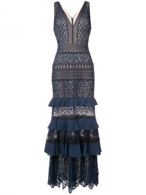 Вечернее платье с оборками Tadashi Shoji. Цвет: синий
