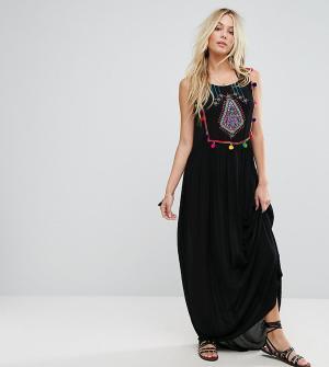 Akasa Пляжное платье макси с вышивкой. Цвет: черный