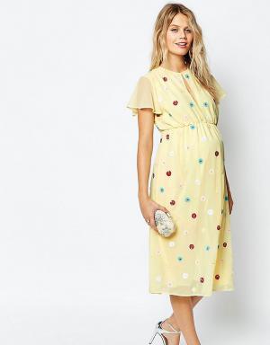 ASOS Maternity Платье миди для беременных. Цвет: мульти