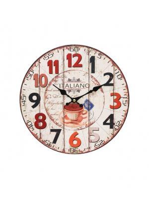 Часы настенные Кофе из Италии, диаметр 34 см (113-CL) Белоснежка. Цвет: кремовый, бледно-розовый, красный