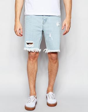 Afends Голубые джинсовые шорты с необработанными краями